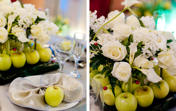 Aranjament de nunta cu mere verzi si trandafiri